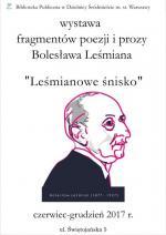 Wystawa fragmentów poezji i prozy Bolesława Leśmiana w Bibliotece Publicznej w Dzielnicy Śródmieście